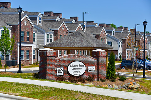 picture of the entrance of the Bellemont Pointe Apartments, one affordable housing complex in Chatham