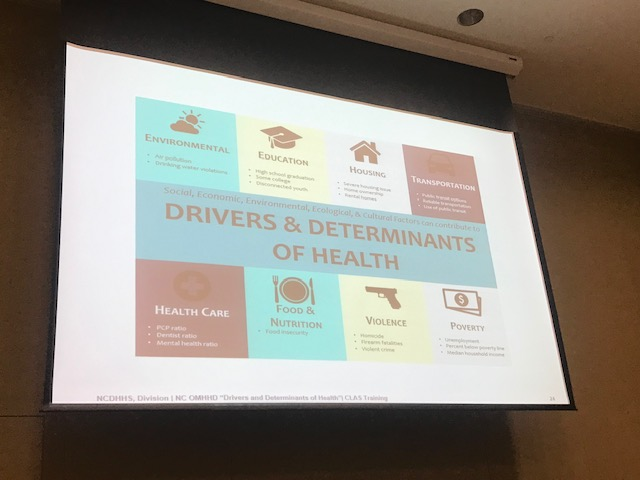 picture of a powerpoint slide from the CLAS training that says the drivers and determinants of health. it says social, economic, environmental, ecological, and cultural factors can contribute to drivers and determinants of health. It states environmental, education, housing, transportation, health care, food & nutrition, violence, and poverty as social determinants.