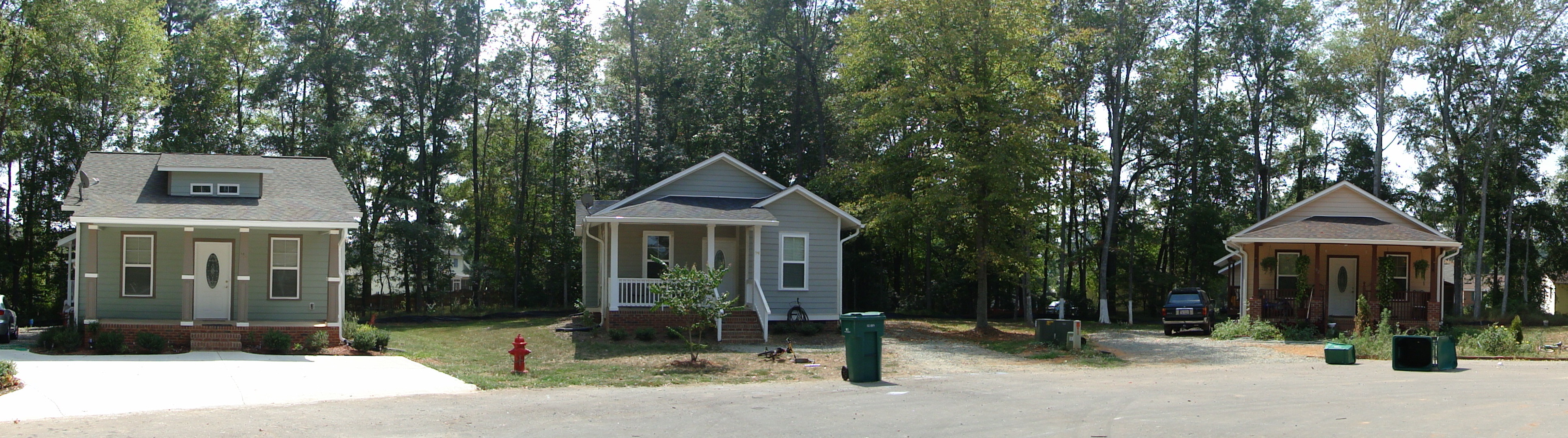 a row of three homes built by Chatham Habitat for Humanity