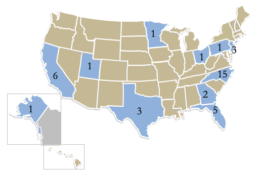 Visual of USA map with NC, California, Florida, Texas, Georgia, Pennsylvania, Texas, Utah, New Jersey, Minnesota, Ohio and Alaska highlighted as states where our online students are coming from this January.